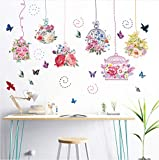 Hwhz Colored Flowers Birdcage Butterfly Wall Sticker Kids Rooms Stickers Home Decor