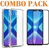 AONIR Combo Offer - 5D_Tempered Glass & Bumper Transparent Back Cover_Premium Quality Screen Guard And Soft Case Cover For Huawei Honor 8X
