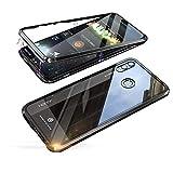 Jonwelsy Huawei Honor 8X Hülle, Stark Magnetische Adsorption Technologie Metallrahmen, Transparent Gehärtetes Glas Rückseite Handyhülle für Huawei Honor 8X (6,5 Zoll) (Schwarz)