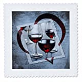 """3dRose Wine Heart-Quilt Square, 6 by 6"""" (qs_99543_2)"""