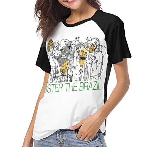Kmehsv Camiseta de Manga Corta de Mujer, Foster The People Women Baseball Short Sleeve Round Neck T...