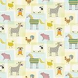 Rasch Bauernhof Tiere Muster Kinder Tapete Pferd Hund Kuh Schaf Collage - 247015 mehrfarbig
