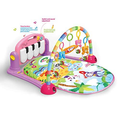 dschungel gym 4-in-1-Spielmatte für Kick & Play Piano Gym,Mädchen Baby Gym,Spielmatte mit Musik, Spielmatte, weiche Spielzeug, Rassel, Licht & Sound für Kleinkinder, Neugeborene, Kick- und Spielmatte 0-36M, Rosa