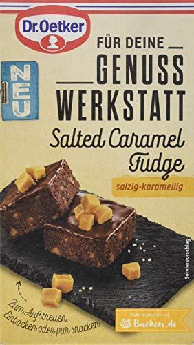 Dr. Oetker Genuss Werkstatt Salted Caramel Fudge 100 g - als Topping zum Aufstreuen oder zum Einbacken ist Salted Caramel Fudge mit dem Geschmack von gesalzenem Karamell Toffee vielseitig einsetzbar