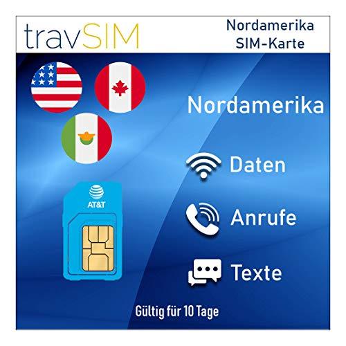 travSIM AT&T Prepaid Nordamerika SIM-Karte (Vereinigte Staaten, Kanada & Mexiko) - UNBEGRENZT* 4G LTE-Daten, Lokale Sprachanrufe & Textnachrichten Gültig für 10 Tage (Prepaid-android-handys Von Verizon)