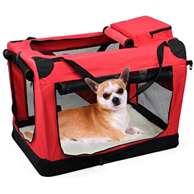 Popamazing Dog Pet Puppy Fabric Soft Portable Carrier Crate Kennel Bag Cage Fold Travel(red, M)