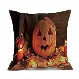 RWINDG Happy Halloween Baumwolle Kissenbezüge Tropische Pflanzen Blätter Dekorative Setzen Schlafsofa Dekoration Festival Kissenbezug Kissenbezug