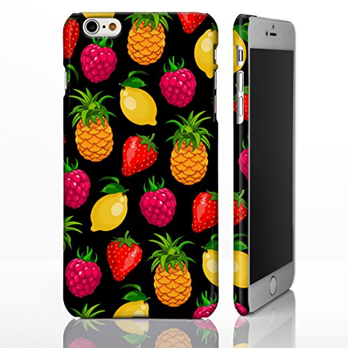 iCaseDesigner Coque colorée pour iPhone Motif fruits , plastique, 4: Pineapple on Yellow Polka Dots, iPhone 6 / 6S - Slim Case 10: Mixed Fruit Pattern on Black