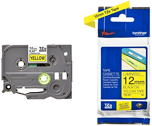 Brother Original P-touch Schriftband TZe-631 12 mm, schwarz auf gelb (kompatibel u.a. mit Brother P-touch PT-H100LB/R, H105, E100/VP, D200/BW/VP, D210/VP) extra-stark klebend, laminiert (Laminiert Pvc)