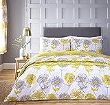 Catherine Lansfield Banbury Biancheria per la casa, con design floreale, facile manutenzione, Giallo, Set piumino doppio matrimoniale