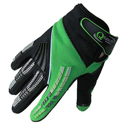 Qtech - Kinder Motocross-Handschuhe - Grün - XS (ca. 10-12 Jahre - Mädchen Motocross Handschuhe