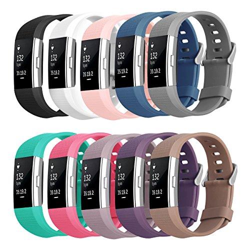 Kutop für Fitbit Charge 2 Armband,TPU weiches Silikon sports Ersetzerband Silikagel Fitness verstellbares Uhrenarmband für Fitbit Charge 2(5.1-8.1in)