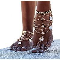 ANGTUO 1 par de la vendimia Sexy playa descalza tobillo cadena borla pie joyas