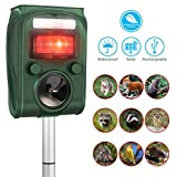 Solar Power Ultrasonic Animal Repeller,CAMTOA Battery Powered Ultrasonic Pet Repellent/Animal Deterrent Spike(Range: 8 m,Frequency:13.5kHz-45.5kHz) For Animal(Cat/Dog/Fox/Rabbit/Deer/Pig/Elephant/Squirrel/Mice/Rats) on Garden Yard Field Farm Glassland(Ada
