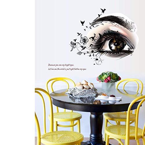 (Lvabc Schöne Augen Wandaufkleber Home Office Decor Schwarze Blumen Wimpern Vögel Tapete Poster Wand Zitat Aufkleber Dekorative Wandkunst)