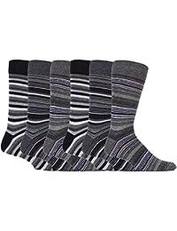 Sock Snob - 6 paires hommes coton fantaisie motif rayures imprimes chaussettes en 5 couleurs