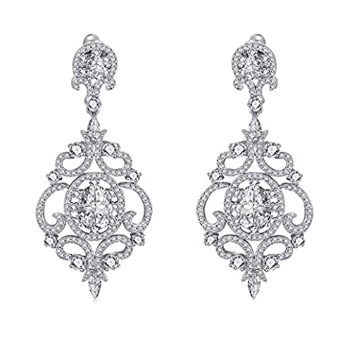 SELOVO Women's Clear Zircon Vintage Style Wedding Floral Chandelier Dangle Earrings Silver Tone