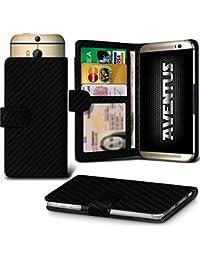 Aventus (Carbon Fibre) Vodafone Smart Platinum 7 Universal Case Etui Housse Wallet Spring Clamp Premium Pu Cuir Avec Caméra Slide, Titulaire De La Carte De La Fente Et Billets Pocket