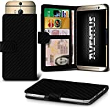 Aventus (Kohlenstoff-Faser) HTC Desire 620G Dual Sim Premium-PU-Leder Universal Hülle Spring Clamp-Mappen-Kasten mit Kamera Slide, Karten-Slot-Halter und Banknoten Taschen