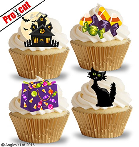 loween Mix V Katze Trick or Treat Sweets Scary House essbarem Reispapier/Wafer Papier Cupcake Kuchen Topper Halloween Party Dekorationen ()