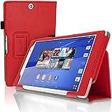 igadgitz Rot PU Ledertasche Hülle Folie für Sony Xperia Z3 Tablet Compact SGP661 mit Multi-Winkel Betrachtungs + Auto Sleep/Wake + Handschlaufe + Stylus-Stift Elastischen Halter + Displayschutzfolie