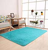 Tomatoa Teppich Shaggy Teppich Moderner glänzender Hochflor Einfarbig Wohnzimmer Velours Teppich Fußmatte Spitzenqualität Lammfellimitat Teppich Sofa Matte (Himmelblau)