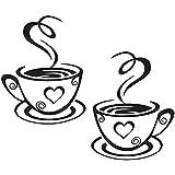 Aikesi Etiqueta de la pared Decoración tazas de café Patrón Decalque de la pared Elegante Etiqueta Desprendible Coffee Shop Cocina - Negro