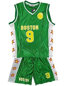 De niño BOSTON Baloncesto Deporte Camiseta Top Y Shorts Conjunto De Accesorios tallas 3-14 Años