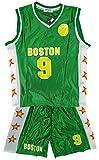 Jungen BOSTON Basketball Sport Weste Top & Shorts Outfit-Set größen 3-14 Jahre - Grün - Grün, Jungen, 98-104, Grün