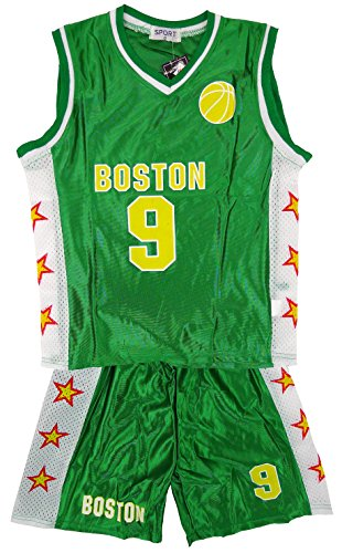 Jungen BOSTON Basketball Sport Weste Top & Shorts Outfit-Set größen 3-14 Jahre - Grün - Grün, Jungen, 146-152, Grün