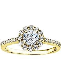 Silvernshine 1.49 CT White Cubic ZirconiaDiamond 14k Yelloe Gold Plated Halo Engagement Wedding Ring