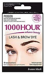 1000 Hour Eyelash & Brow Dye / Tint Kit Permanent Mascara (Brown Black) by 1000Hour