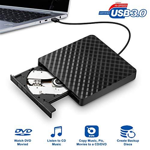 BhdLovely Masterizzatore DVD Externo, USB 3.0 Portatile Ultra Slim External Lettore DVD Esterno per Windows 7/8/10/Vista/XP Systeme für Laptops, Desktops, Notebooks, Mac - Nero