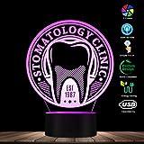 WANQINGW Zahnarzt Zahnpflege Logo LED Licht Lampe Gesundheitswesen Stomatologie Zahn Zeichen personalisierte Dental Hygienist 3D Dekor Licht