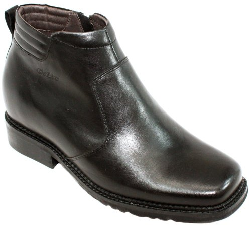 CALTO G9901-3.3 inches Taller - Size 6 D US - Height Increasing Elevator Shoes (Black Leather Square-Toe Zipper Boots)