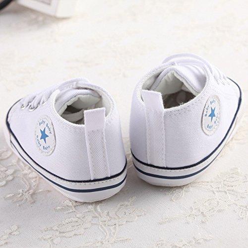Süße Baby-Leinwand-Turnschuh Anti Skid weicher netter Trainer Schuhe 0-18M Weiß