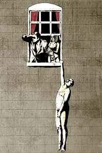 """The Hanging Man Banksy - Homme Cocu et sa Femme, Amant Pendu a la Fenetre Mini PAPIER Poster Dimensions 23.5"""" x 16.5""""Inches (59.4 x 42 cm) approximativement"""