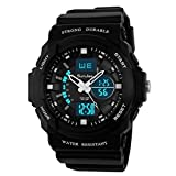 SunJas Digital Armbanduhr LED Sportuhr stoppuhr wecker wasserdicht Quaruhr Alarm in weiss