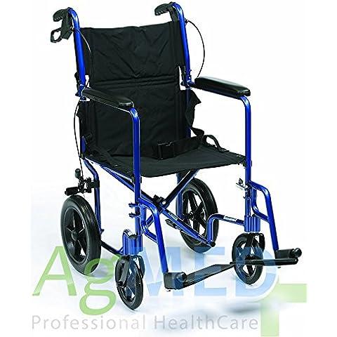 Carrito plegable de aluminio silla de ruedas de tránsito para discapacitados y personas mayores luz