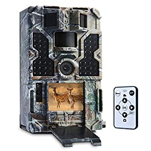 """TOMSHOO Trail Camera 16MP 1080P Wildlife Camera with Motion Activated Night Vision 20m,0.2s Trigger Speed,2.4""""LCD screen and 130° Wide Angle Lens,IP55 Waterproof Design for Wildlife Hunting"""