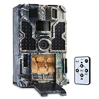 """TOMSHOO Trail Camera 1080P 30fps Hunting Camera with 48pcs 850NM IR LEDs Night Vision, 0.2s Trigger Time,Time Lapse, 20m Range,2.0"""" LCD Screen"""