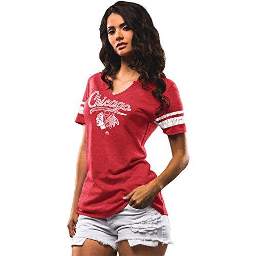 NHL Damen Eishockey T-Shirt Chicago Blackhawks Women Shirt in SMALL (S)