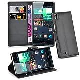 Cadorabo Hülle für Huawei P6 Hülle in Phantom schwarz Handyhülle mit Kartenfach und Standfunktion Case Cover Schutzhülle Etui Tasche Book Klapp Style Phantom-Schwarz