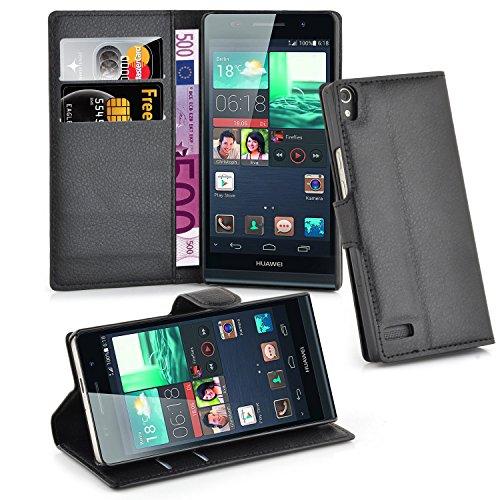 Cadorabo Hülle für Huawei P6 - Hülle in PHANTOM SCHWARZ – Handyhülle mit Kartenfach und Standfunktion - Case Cover Schutzhülle Etui Tasche Book Klapp Style