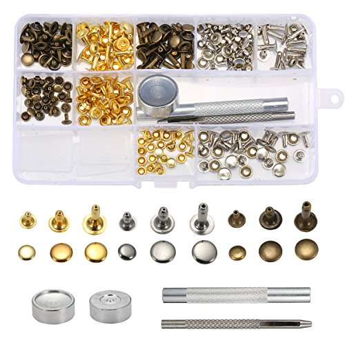 KING DO WAY 135 set Nieten leder nieten Einzel Kappe Niet Tubular Metall Bolzen mit Fixing Tool Kit für Leder Handwerk Reparaturen Dekoration, 3 Größen -
