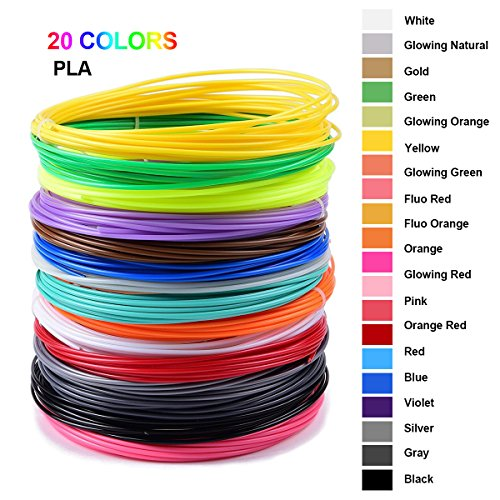 3D Stift Filament 200M NuoYo PLA Filament 3D Pen 20 Farben 3D Drucker Filament 3D Printer Material Drucktemperatur von 160-180°C 1.75MM für 3D Drucker 10M/1pcs
