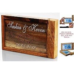 Magische Geschenkbox aus Holz – Geldgeschenk zur Hochzeit – graviert mit Herz- oder Ringmotiv für Verliebte (Ringmotiv, ohne Swarovski-Steine)