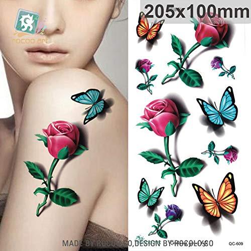 Wasserdicht Temporäre Tattoo Aufkleber Für Frauen Schöne 3d Farben Schmetterling Rose Großen Arm Tatoo Großhandel(3 Pack) 205 x 100mm ()