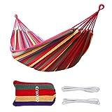 Enkeeo - Hamaca Colgante de Algodón para Jardín Camping (2 Cuerdas, Capacidad 220kg, 200 x 150cm)...