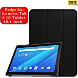 Taslar Leather Convenient Stand Function with Magnetic Lock Flip Cover Case for Lenovo Tab4 10 Tablet 10.1 inch,(Black)